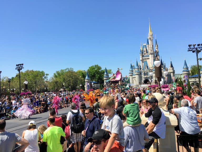 Crowd around Disney castle
