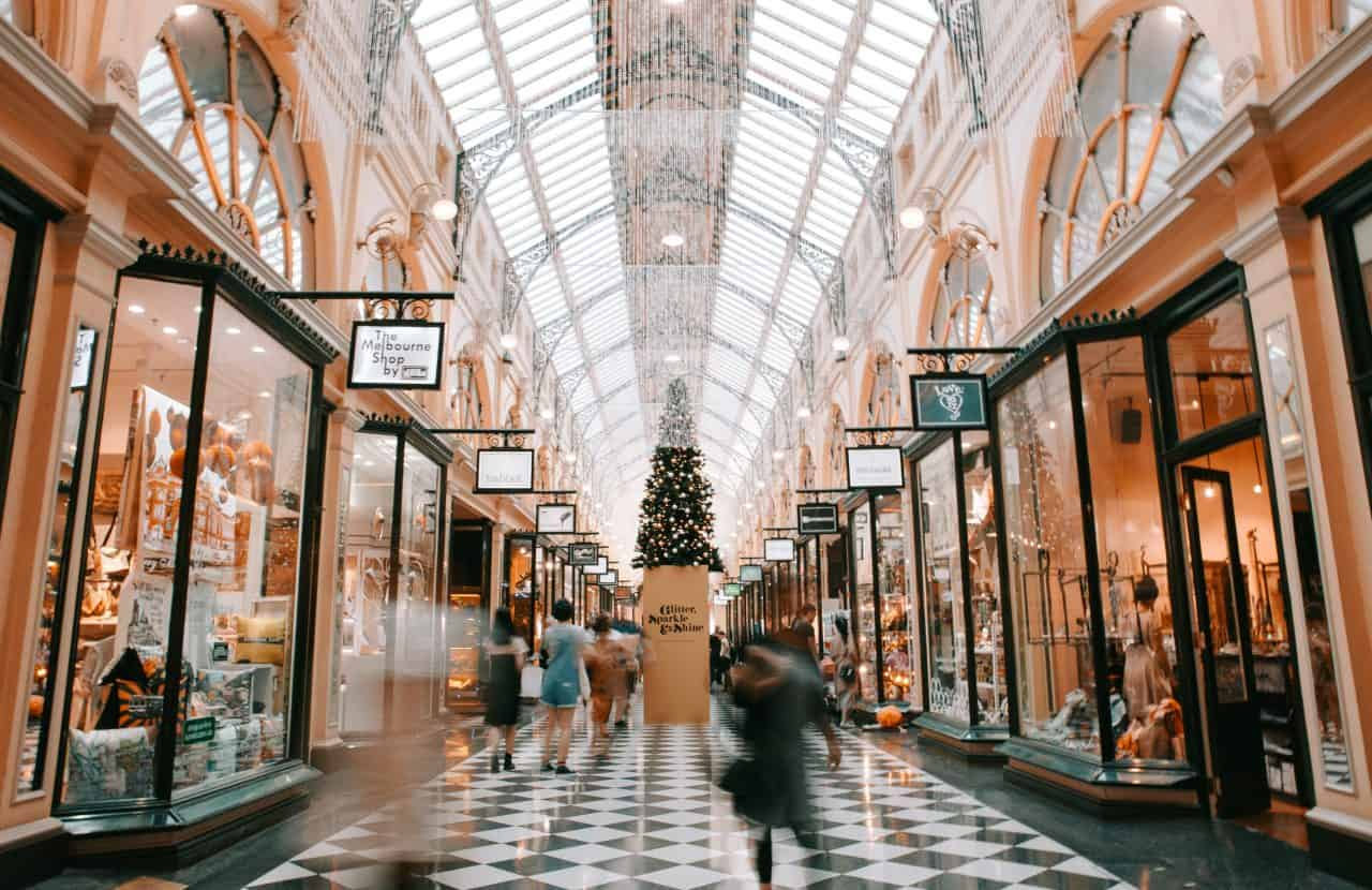 Christmas shopping in mall