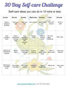 30 day self care calendar