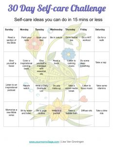 30 day self care calendar