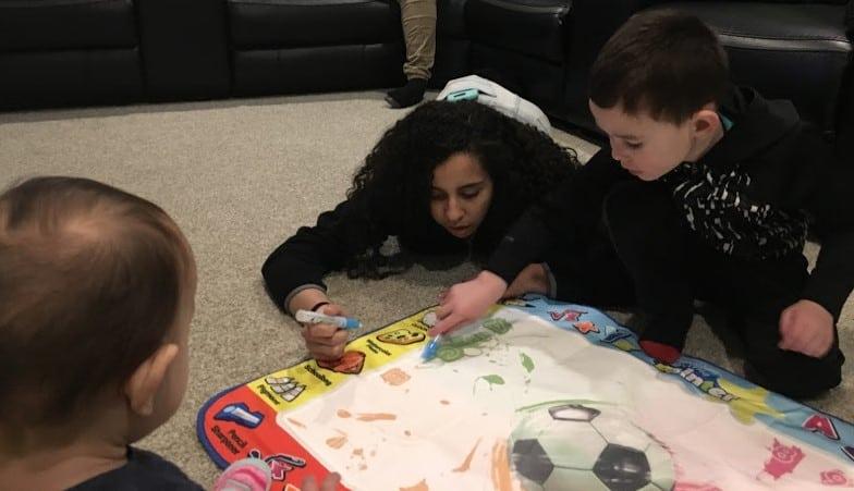 kids playing on mat