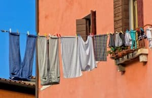 Clothes hanging on outdoor clothes line