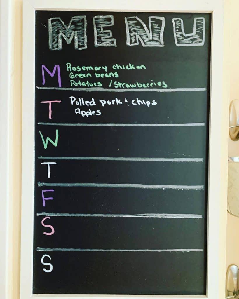 Chalk Board with written menu